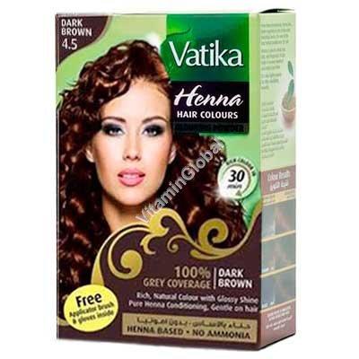 Краска для волос на основе порошка хны - темно коричневый цвет 60 гр (6 пакетиков по 10 гр) - Vatika