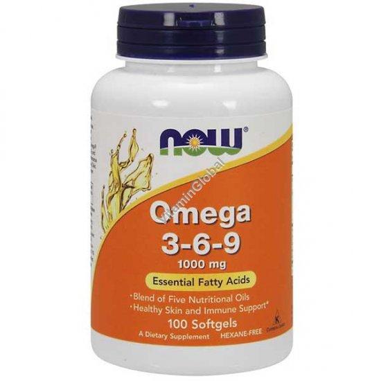 Омега 3-6-9 1000 мг 100 мягких капсул - NOW Foods