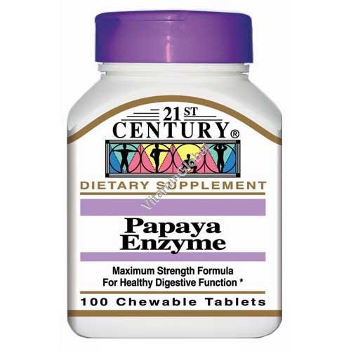 Папая инзимы 100 жевательных таблеток - 21st Century