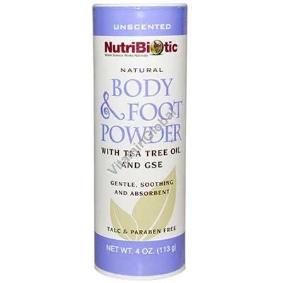 Натуральный тальк для тела и ног с маслом чайного дерева и экстрактом грейпфрута 113 гр - NutriBiotic