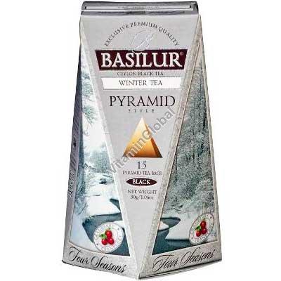 """""""Зимний чай"""" - цейлонский мелколистовой черный чай с клюквой 15 чайных пакетиков-пирамид - Basilur"""