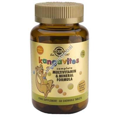 Мультивитамин и минерал для детей Kangavites со вкусом тропических фруктов 60 жевательных таблеток - Сольгар