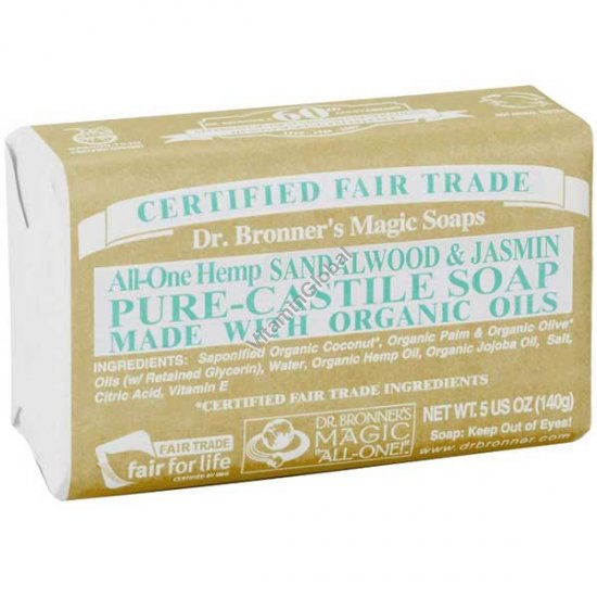 Натуральное мыло жасмин и сандал 140 гр - Dr. Bronner