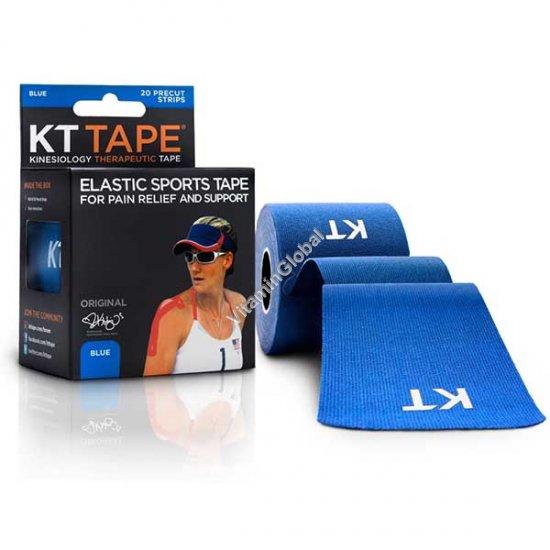Кинезиотейп - повязка для снятия боли, уменьшения отека и ускорения процесса восстановления (цвет синий) 20 лент - КТ Таре