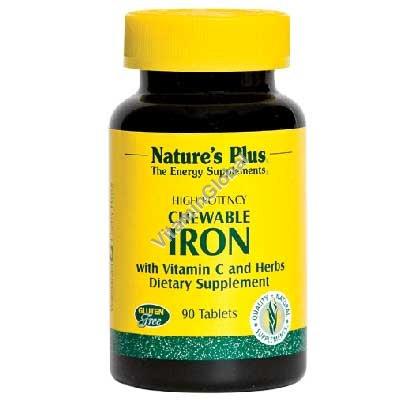 Железо с витамином С в жевательных таблетках 90 таблеток - Nature\'s Plus