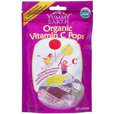 Органические леденцы на палочке с витамином Ц 14 шт - Yummy Earth