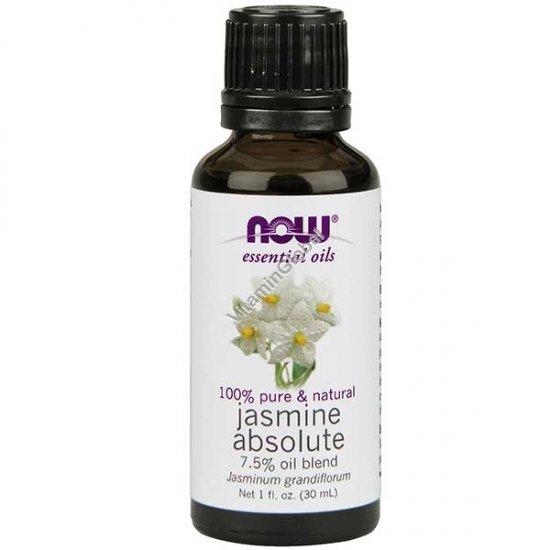 Эфирное масло жасмин абсолют 7.5% смесь с маслом виноградных косточек 30 мл - Now Foods