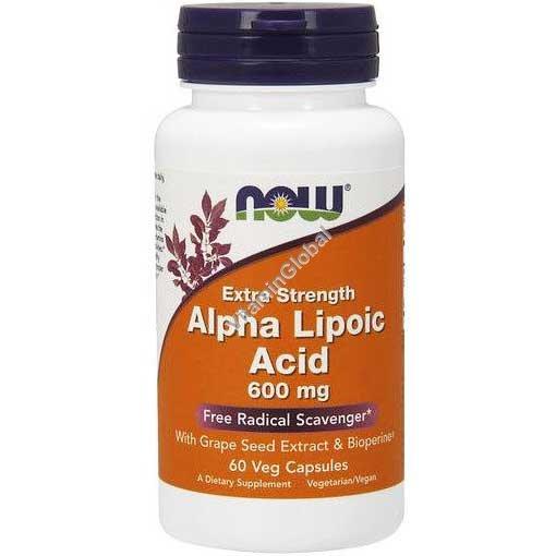 Альфа-липоевая кислота 600 мг 60 вегетарианских капсул - Now Foods