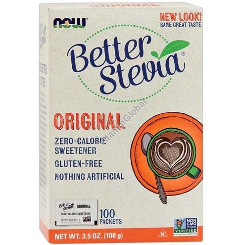 Стевия в порошке 100 пакетиков - NOW Foods