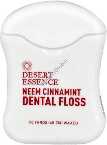 Вощеная зубная нить с корицей, нимом и маслом мяты 45.7 метра - Desert Essence