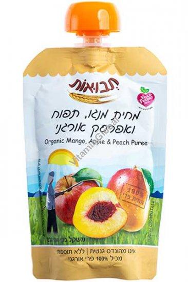 Органическое фруктовое пюре манго, яблоки и персики 100 гр - Tvuot