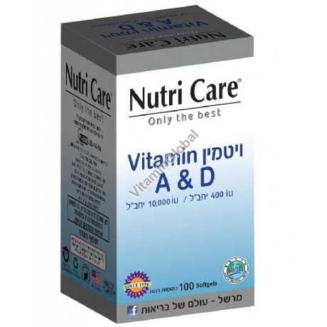 Витамин А 10000 МЕ / Д 400 МЕ 100 мягких капсул - Nutri Care