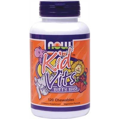Детские жевательные мультивитамины Кид Витс со вкусом лесных ягод 120 шт - Now Foods