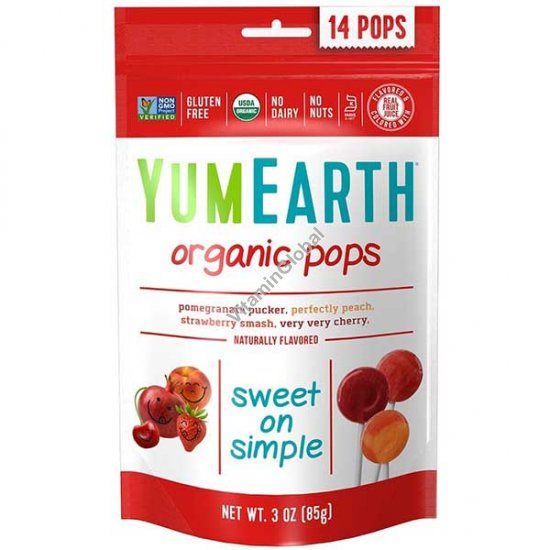 Органические фруктовые леденцы на палочке 14 шт - YumEarth