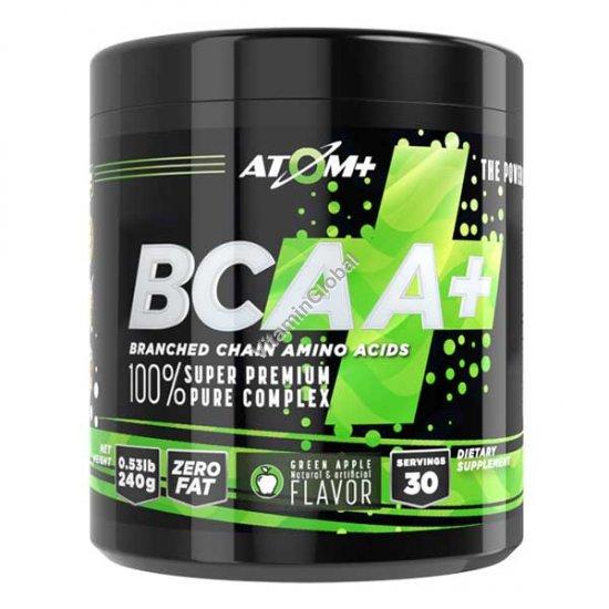 BCAA - аминокислоты в порошке со вкусом зеленого яблока 30 индивидуально упакованных порций - Атом +