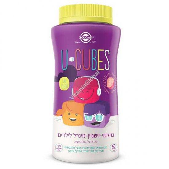 Мультивитамин для детей в жевательные конфетах-кубиках с фруктовым вкусом - Солгар