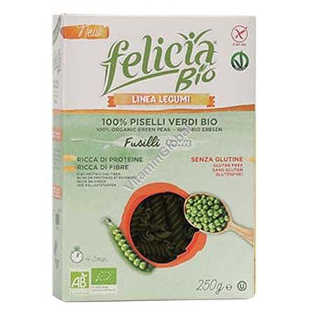 Безглютеновые органические макароны-спиральки из зеленого горошка 250 гр - Filicia Bio