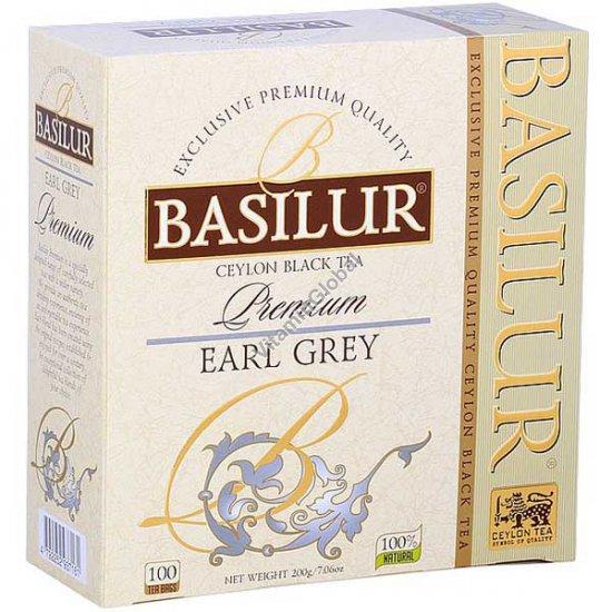 Черный цейлонский премиум чай Эрл Грей с бергамотом 100 чайных пакетиков - Basilur