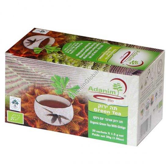 Органический зеленый чай с гинкго 20 пакетиков - Аданим