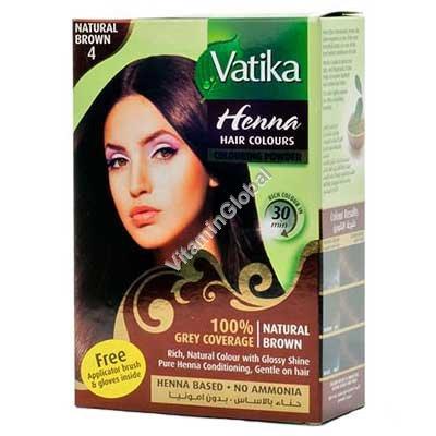 Краска для волос на основе порошка хны - натуральный коричневый цвет 60 гр (6 пакетиков по 10 гр) - Vatika