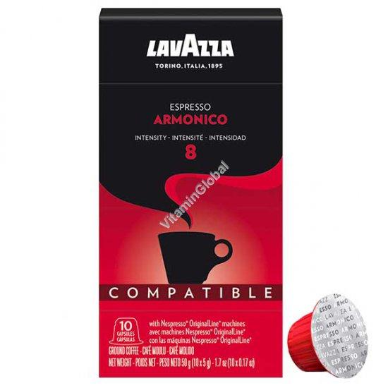 Кофе арабика эспрессо в капсулах с интенсивностью 8, для кофемашин Неспрессо, 10 капсул, 50 гр - Лавацца