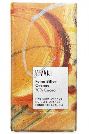 Органический темный шоколад 70% какао с апельсиновым вкусом 100 гр - Вивани