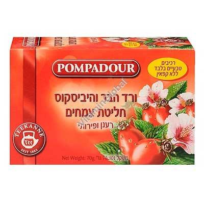 Чай шиповник и гибискус 20 пакетиков - Pompadour