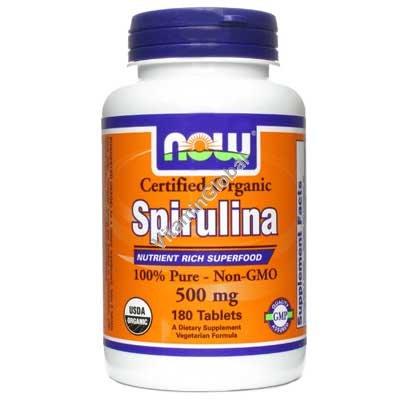 Органическая спирулина 500 мг 180 таблеток - NOW Foods