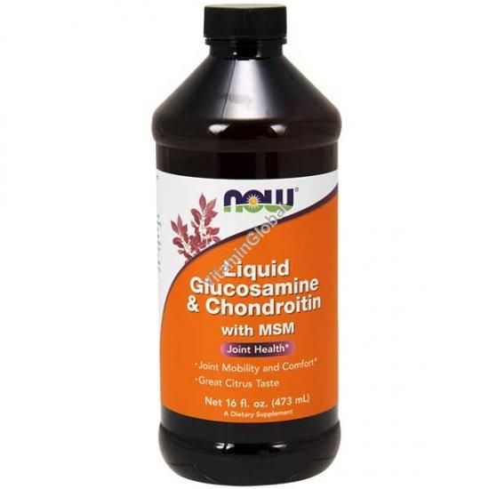 Жидкий Глюкозамин и Хондроитин + MSM 473 мл - NOW Foods
