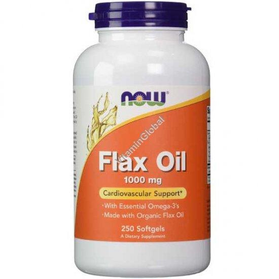 Льняное масло 1000 мг 250 мягких капсул - NOW Foods