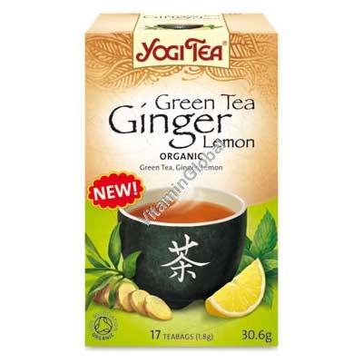 Органический зеленый чай с имбирем и лимоном 17 фильтр-пакетиков - Йоги Ти
