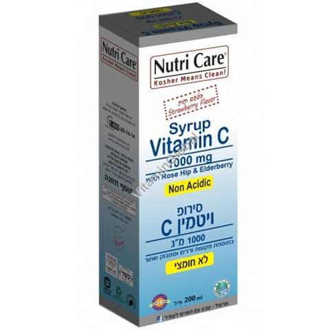 Витамин С-1000 мг в сиропе с добавкой шиповника с клубничным вкусом 200 мл - Nutri Care