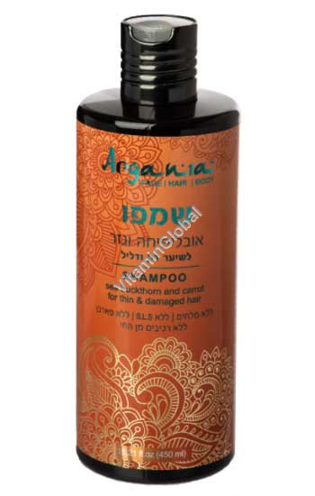 Облепихово-морковный шампунь для тонких ослабленных волос 450 мл - Аргания