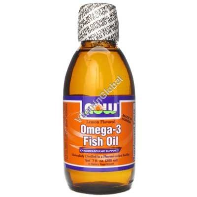 Омега 3 - рыбий жир в жидком виде со вкусом лимона 200 мл - Now Foods