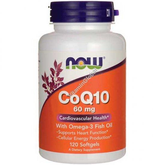 Коэнзим Q10 с рыбьим жиром Омега-3 60 мг 120 мягких капсул - NOW Foods