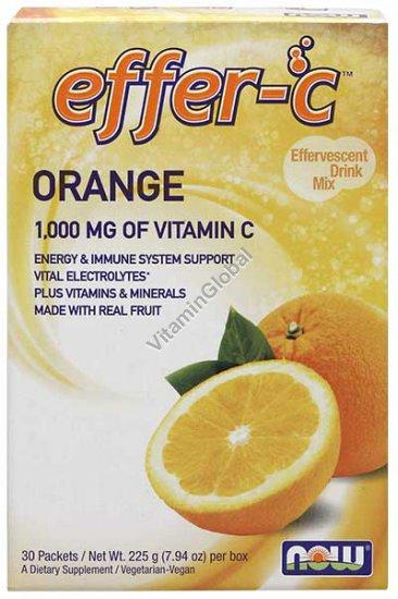 Эффер С-1000 мг витамин Ц в порошке с апельсиновым вкусом 225 гр (30 порций в индивидуальных пакетиках) - Now Foods