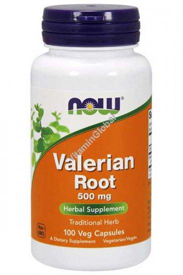 Корень валерианы 500 мг. 100 растительных капсул - NOW Foods