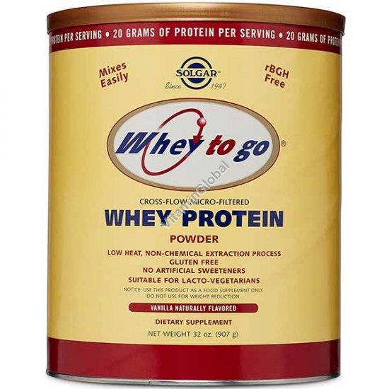 Сывороточный протеин Whey to go микрофильтрованный со вкусом ванили 907 гр - Солгар
