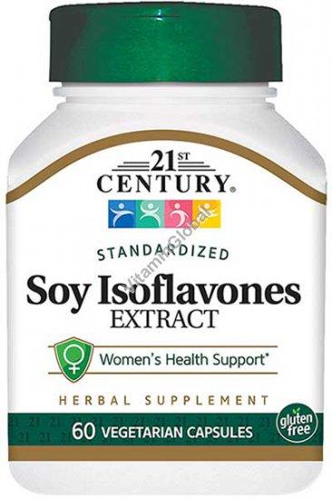 Экстракт изофлавона сои 60 вегетарианских капсул - 21st Century
