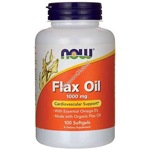 Льняное масло 1000 мг 100 мягких капсул - NOW Foods