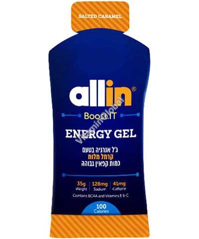 Энергетический гель со вкусом соленой карамели 41 мг кофеина) 35 гр - Allin