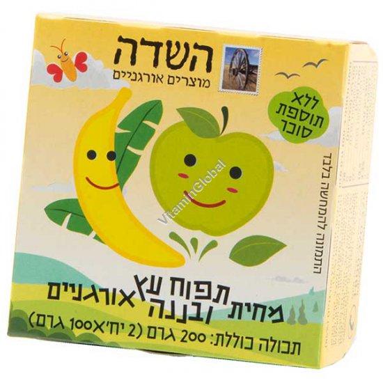 Органическое фруктовое пюре яблоки и бананы 200 гр (100 гр +100 гр.) - HaSade