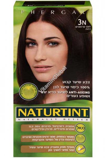 Стойкая краска для волос, цвет темно-каштановый 3N - Натуртинт