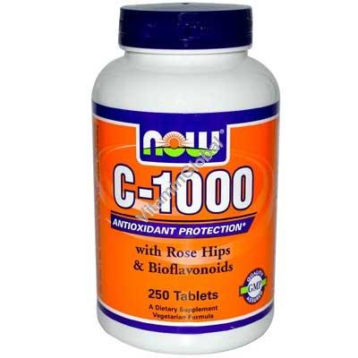 Витамин С - 1000 мг с шиповником 250 таблеток - NOW Foods