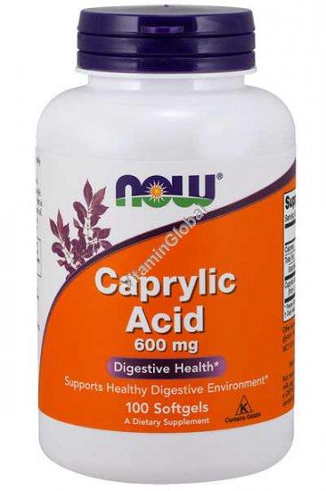 Каприловая кислота 600 мг 100 мягких капсул - Now Foods