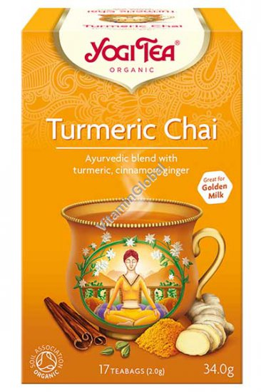 Органический аюрведический чай с куркумой, корицей и имбирем 17 фильтр-пакетиков - Yogi Tea