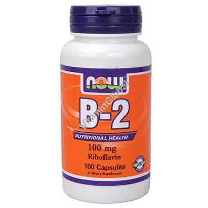 Витамин В-2 100 мг 100 капсул - NOW Foods