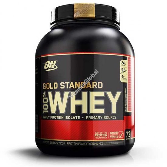 Золотой стандарт - сывороточный протеин со вкусом клубники 2.27 кг - Оптимум Нутришен