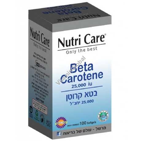 Бета каротин 25000 МЕ 100 мягких капсул - Nutri Care