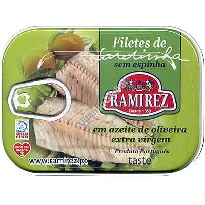 Филе португальских сардин с зелеными порезанными оливками в экстра вирджин оливковом масле 100 гр - Ramirez